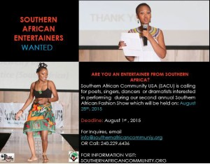 Call for Entertainers - SACU Fashion Show 2015