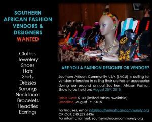 Call for Vendors - SACU Fashion Show 2015